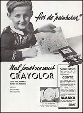 Publicité Crayon de couleur CONTE ecolier  photo vintage print ad  1948 - 9h