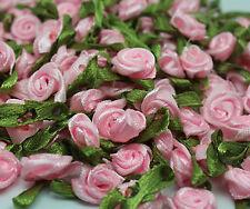 light pink 50PCS Satin Ribbon Rose Flower DIY Craft Wedding Appliques 12mm