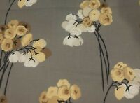 Eva Harlequin Floral Bouquet Cinnamon Sand Charcoal Cotton Fabric By The Yard