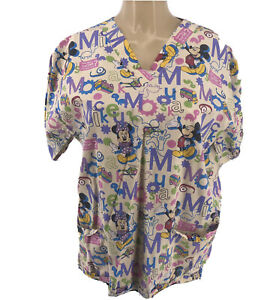 Disney Minnie & Mickey Mouse Turtles Scrub Top  M/L ?