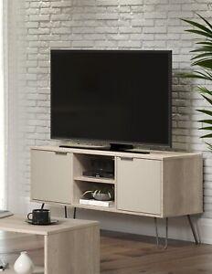 Wooden Retro 2 Door TV Cabinet Stand Unit Media Storage Space Shelf Hairpin Legs