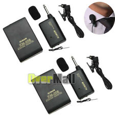 2 x Wireless FM Transmitter Receiver Lavalier Lapel Clip Microphone Mic System