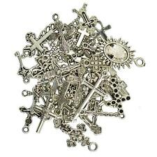 50pcs Cross Alloy Charms Pendants Beads DIY Jewelry Findings Craft Silver