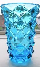 Vintage Sklo Union Blue Pressed Glass 'Pineapple' Vase 19.5 cm/7.75 inches high