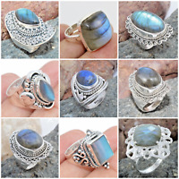 925 SOLID STERLING SILVER HANDMADE JEWELRY RINGS IN LABRADORITE  SIZE 7 8 9