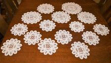 ELEGANCE OF BATTENBURG LACE! VINTAGE MATCHING GERMAN DOILY SET of 15 NEEDLELACE