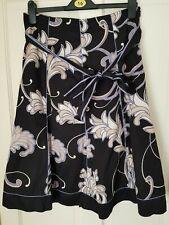 Beautiful PRINCIPLES Black Floral Cotton Skirt UK 12 VGC