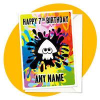 Inkling Squid PERSONALISED BIRTHDAY CARD - splatoon personalized gamer nintendo