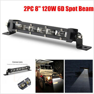 Pair 8''6D Spot Beam Slim LED Work Light Bar Single Row Car Off road Lamps New