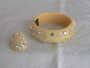 Light Brown Amber Color Rhinestones  7 Inch Gold Tone Bracelet WEISS Vintage Faceted Cognac Austrian Crystal Panel Bracelet  Earth Tone