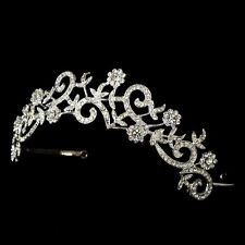 CLOSEOUT $ Rhinestone Floral Swirl Bridal Sweet 16 Tiara Crown Wedding Headpiece