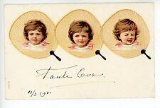 """Art-Nouveau Fan Crying Girl """"Tante Eva"""" Antique PC—Beautiful Crying Girl 1910s"""