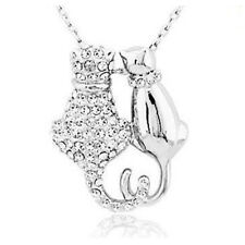 Mr and Mrs Cat Silver Pendant Necklace For Women