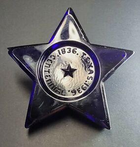 Vintage Cobalt Blue Glass ☆ TEXAS CENTENNIAL 1936 LONE STAR ☆ Paperweight