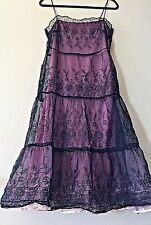 BETSEY JOHNSON Vintage Black Lace Tiered Embroidered Pink Tulle Ruffle Dress 6 S