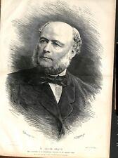 Portrait de Jules Ferry Président de la République Dessin Bocourt GRAVURE 1879