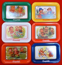 6 VINTAGE Metal CAMPBELLS SOUP Kids TRAYS Fishing CALENDAR Soccer PUPPY Opry SET