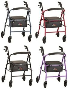 Nova Vibe 6S Steel Folding Mobility Rolling Walker Rollator - 4 COLOR CHOICE