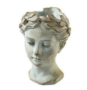 Büste Kopf Frauenkopf Deko 16,5 cm Übertopf Pflanztopf creme-grau