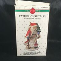 "Vintage Traditions Porcelain 7-1/4"" Father Christmas Santa Figurine Original Box"