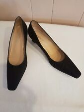BRUNO MAGLI 6.5-AA  Black Leather Embossed Lizzard Skin Kitten Heel Shoes ITALY