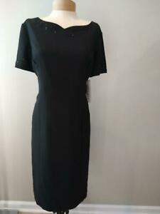 STUDIO I VINTAGE BLACK COCKTAIL PARTY DRESS BEAD DETAIL size 12 / 14 NWT $119