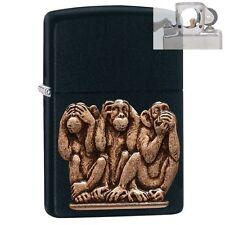 Zippo 29409 3 Monkeys No Evil Lighter With Pipe Insert PL