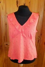 PER UNA coral sleeveless v neck camisole vest tunic top floral embroidery 22 50
