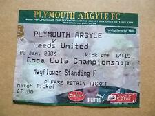 Ticket- PLYMOUTH ARGYLE v LEEDS UNITED, Coca Cola Championship, 2 January 2006.