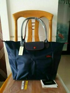 Auth Longchamp Le Pliage Tote Bag Nylon 1899 with Horse Embroidery blue Large L