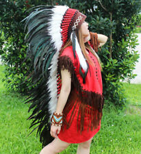 Warbonnet Chief Indian Headdress American Native Feather Hat Cosplay Carnival