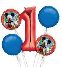 Mickey Mouse 1st Birthday  Balloon Bouquet - 5 Foil Helium Balloons Party