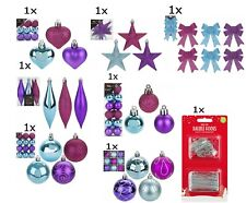 Christmas Tree Ornaments Mix Colour Baubles Star,Heart,Drops,Bows Hanging Decor