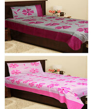 Homefab India Set of 2 Cotton Single Bed Sheet with 2 Pillow Covers (Combo718)