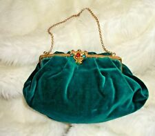 Antique c1900 Victorien/Edwardian Emerald Luxe Velours Cocktail Vert Sac