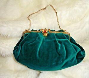Antique c1900 Victorian/Edwardian Emerald Luxury Velvet Green Cocktail Bag