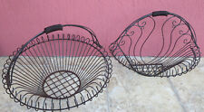 Set of Vintage Hand Wrought Iron Metal Basket and Wire Wall Planters