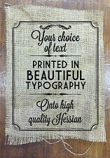 YOUR TEXT PRINTED IN TYPOGRAPHY ON HESSIAN GIFT PRESENT XMAS CHRISTMAS CUSTOM
