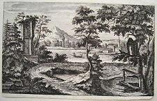 Südliche Landschaft Kastell Italien Fluss  Kobell  Kupferstich ca. 1750