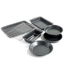 NON-STICK BAKEWARE 7 PC SET COOKIE SHEET PIE CAKE BROWNIE LOAF PAN COOLING RACK