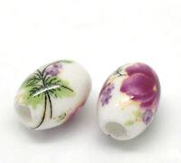 50 Oval Porzellan Keramik Perlen Beads Spacer Blume Motiv 10x8mm