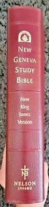New Geneva NKJV Study Bible Genuine Leather 2996BG Burgundy New King James Vers