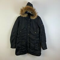 Vintage Best Company Womens Parka Coat Jacket Medium Black Outdoor