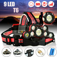 150000LM 9x T6 LED Rechargeable Headlamp USB 18650 Headlight Head Lamp Torch