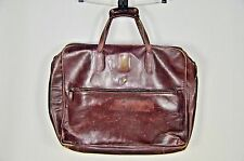 VINTAGE VANNUCCI FLORENCE BROWN LEATHER ZIP TOP CARPET BAG TRAVEL MADE IN ITALY