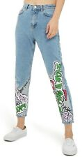 Topshop Moto Mom Jeans High Waisted Light Wash Graffiti Design Size W28 US 6