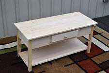 Unfinished Pine Coffee Table, Shaker Square Edge w/Shelf