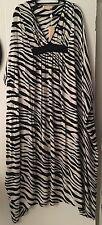 NWT MICHAEL KORS Stretchy 100% Silk Black & White Maxi Oversized Dress Sz S