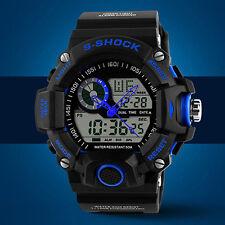 Reloj Pulsera para Hombre Impermeable Digital Luz De Fondo LED Alarma Cronómetro Deportivo De Goma