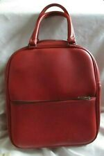 1960s Red Leather Look Bag Zip Pocket on Front & Zip on Bag